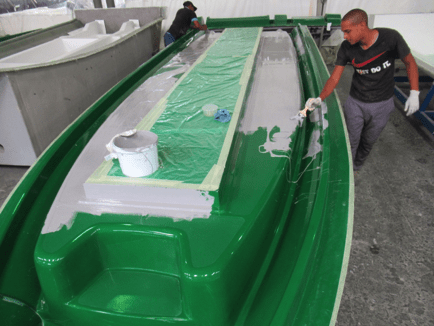 Gelcoat application on the GEMINI WR880 deck mould